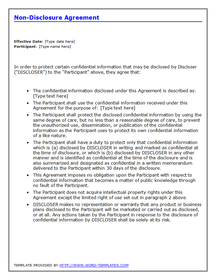 Non Disclosure Agreement Template Doc Writer Templates