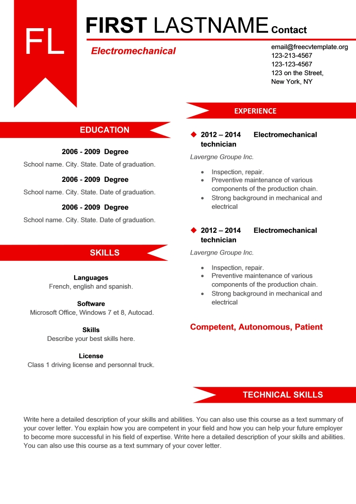 Powerful red resume .docx